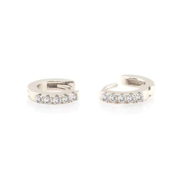 Pave Huggie Hoop Earrings - Silver