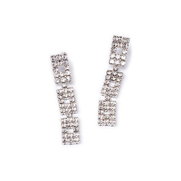 Crystal Rectangle Drop Earring