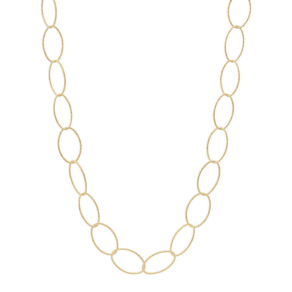 "36"" Diamond Cut Oval Necklace Gold"