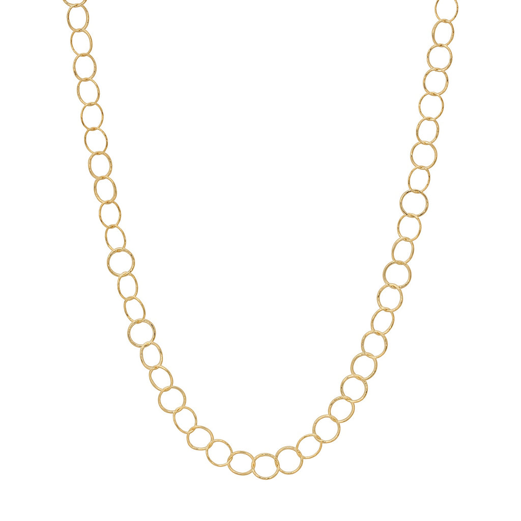 "36"" Small Circle Diamond Cut Necklace Gold"
