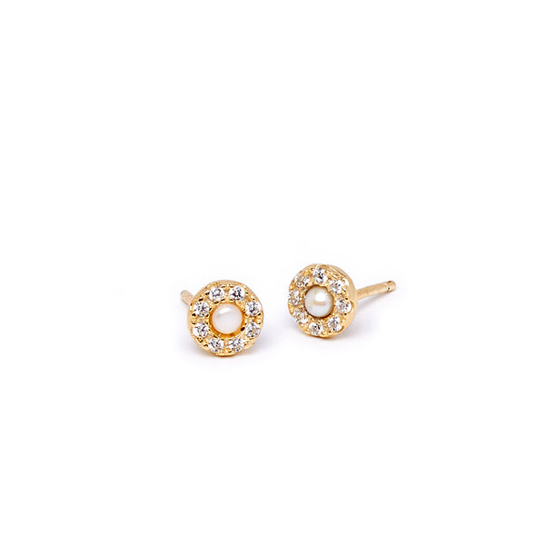 Gold Small Crystal and Pearl Earring