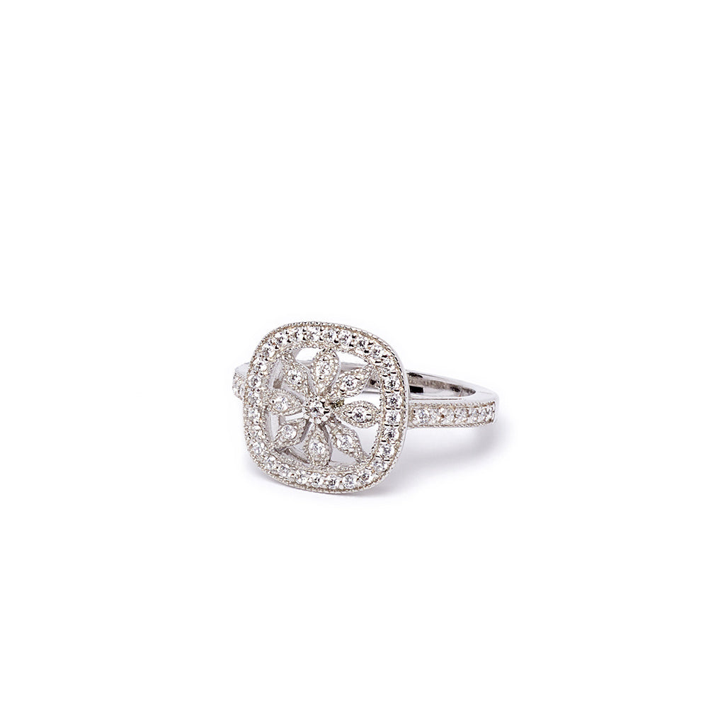 Flower Shaped Silver Ring