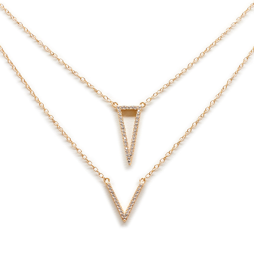 Crystal Triangle V Necklace