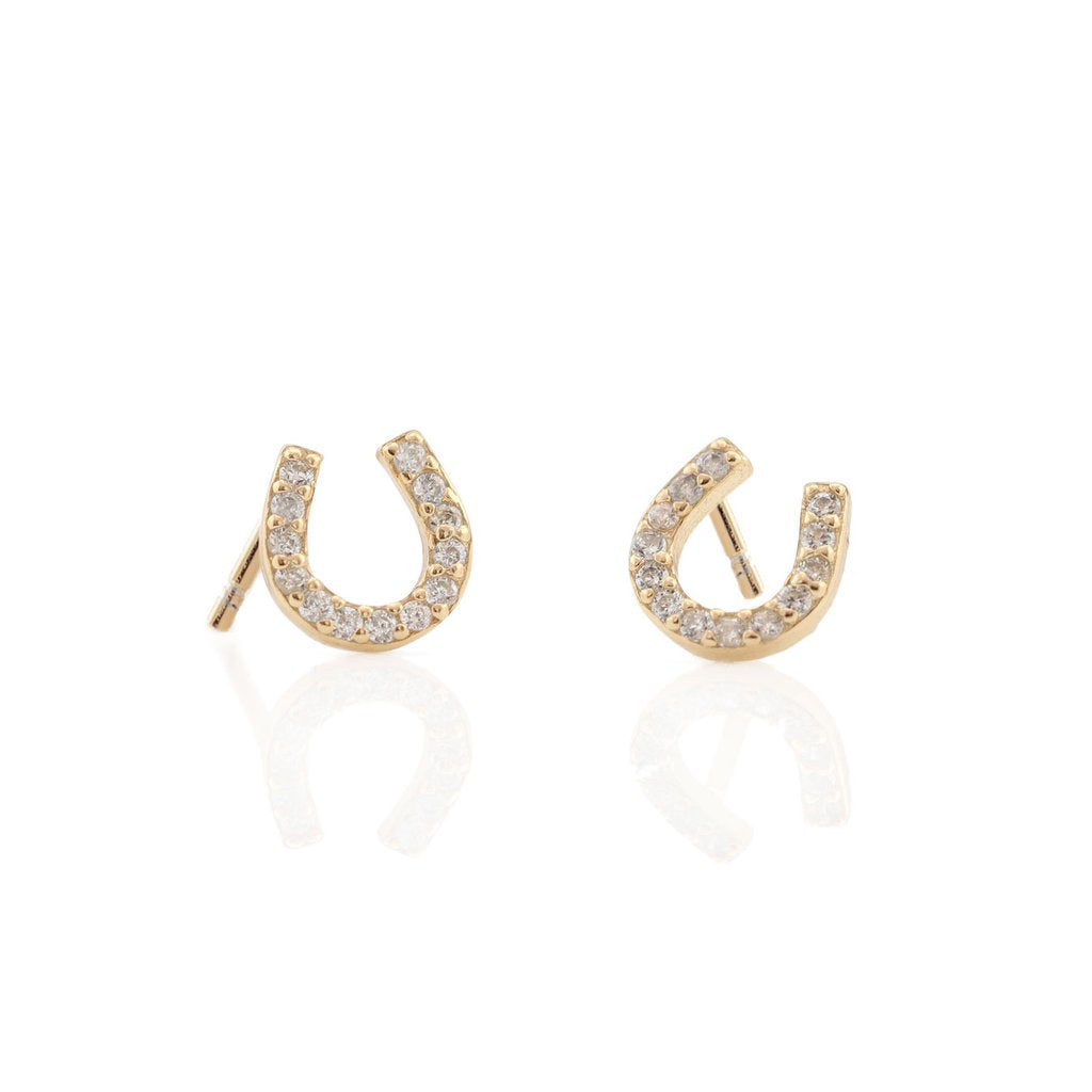 Horseshoe Pave Stud Earrings - Gold
