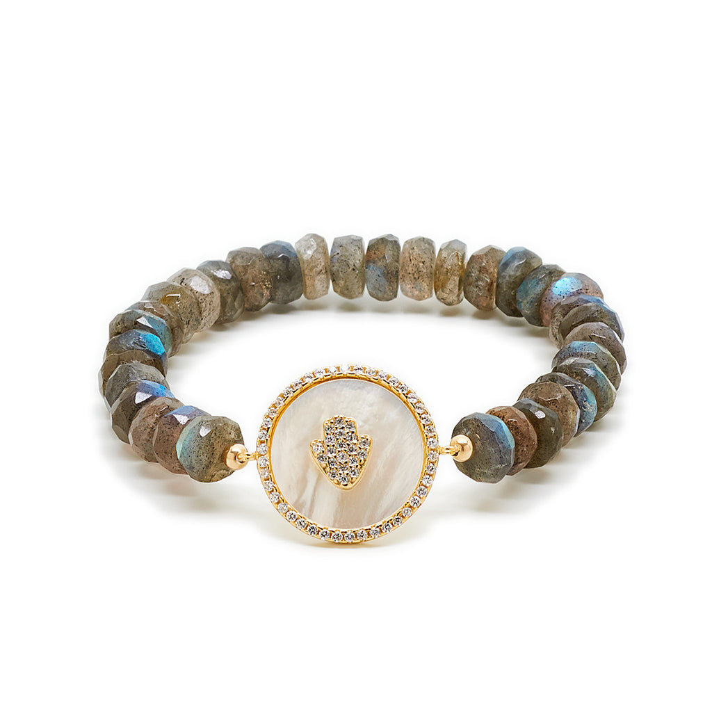 Mother of Pearl Hamsa Beaded Bracelet