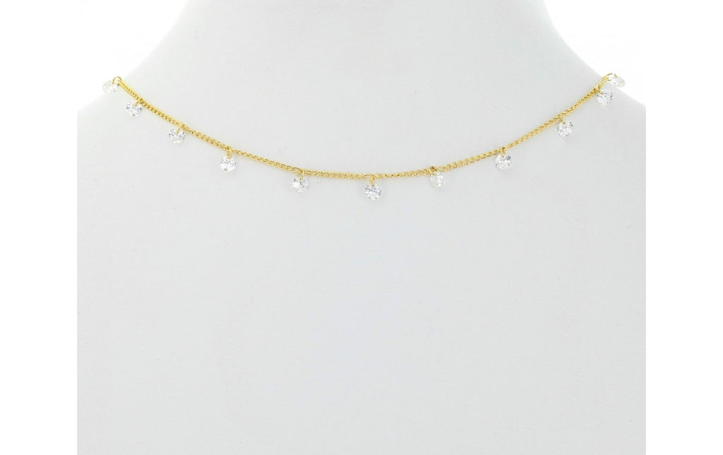 Dangling CZ Necklace - Gold