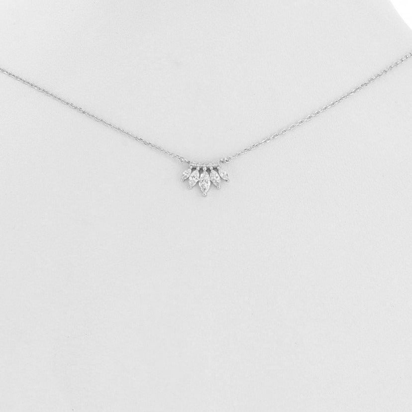 Dangling Cubic Zirconia Necklace - Silver
