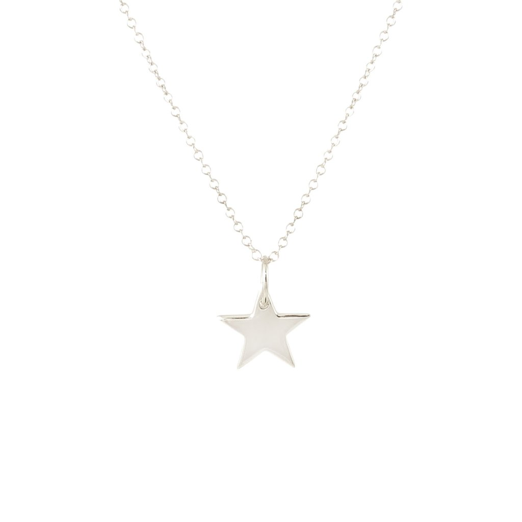Solid Star Charm Necklace - Silver