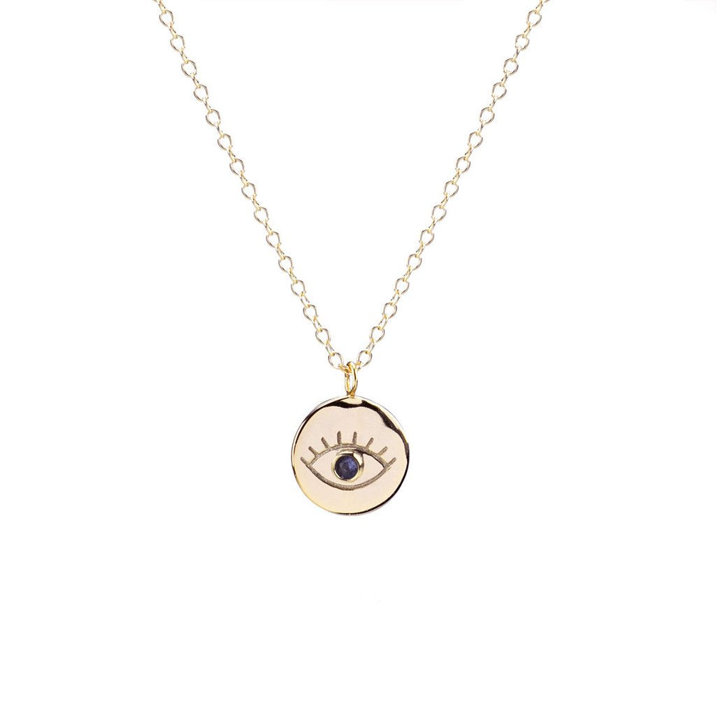 Third Eye Pave Disc Charm Necklace