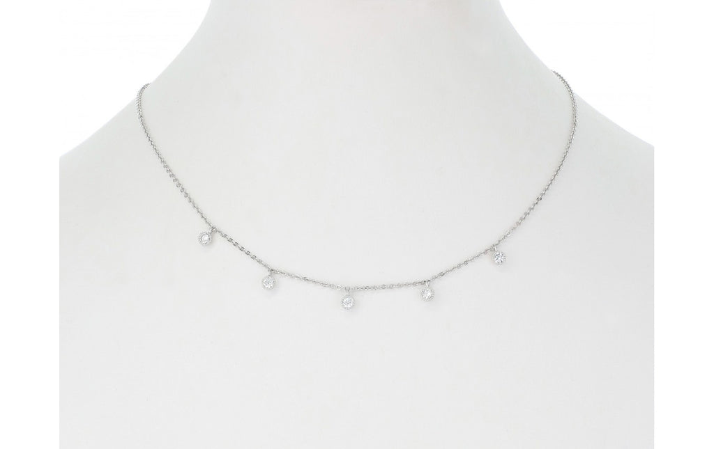 Multi Round Crystals Necklace - Silver