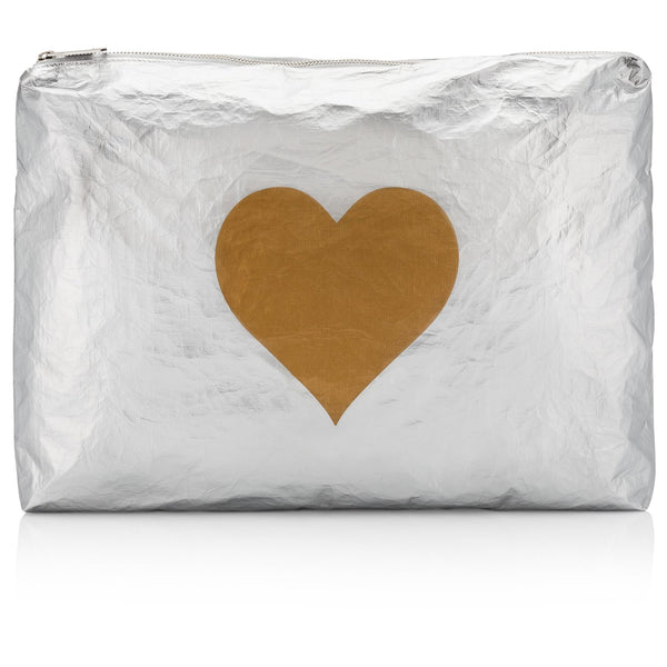 Jumbo Pouch Metallic Silver Collection with a Metallic Gold Heart