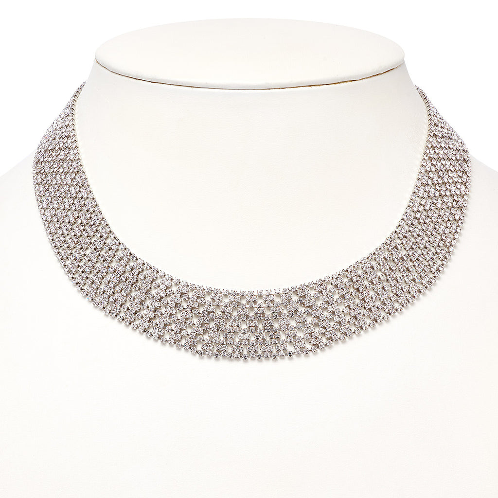 Crystal Collar Necklace - Silver
