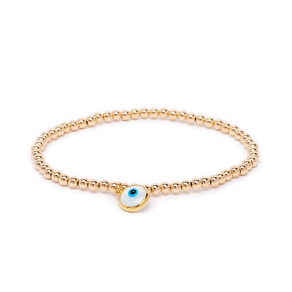 Gold Beaded Evil Eye Bracelet