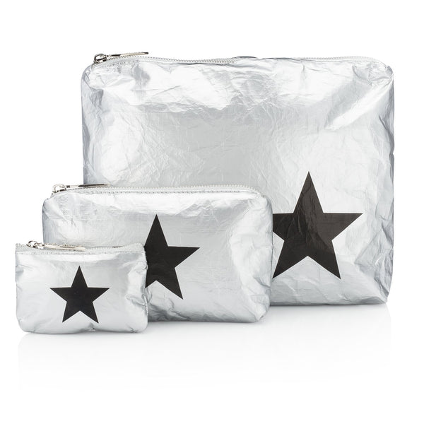 Metallic Silver Pouch Collection with a Black Star