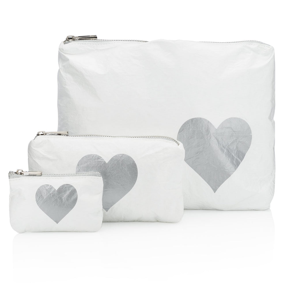 White with a Metallic Silver Heart Pouches