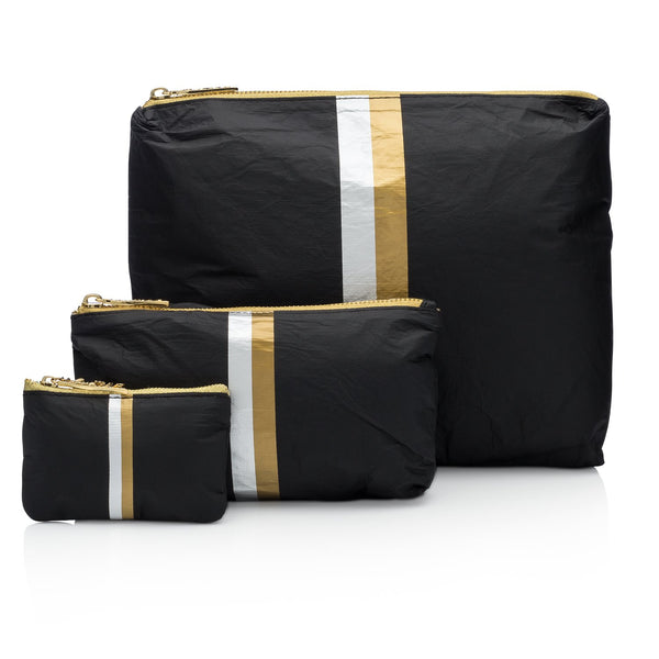 Black Collection with Double Metallic Lines Pouches