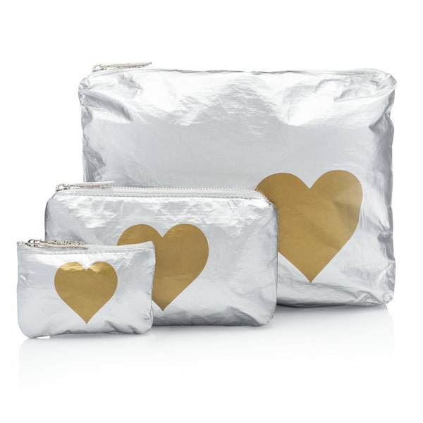 Metallic Silver Pouch Collection with a Gold Heart