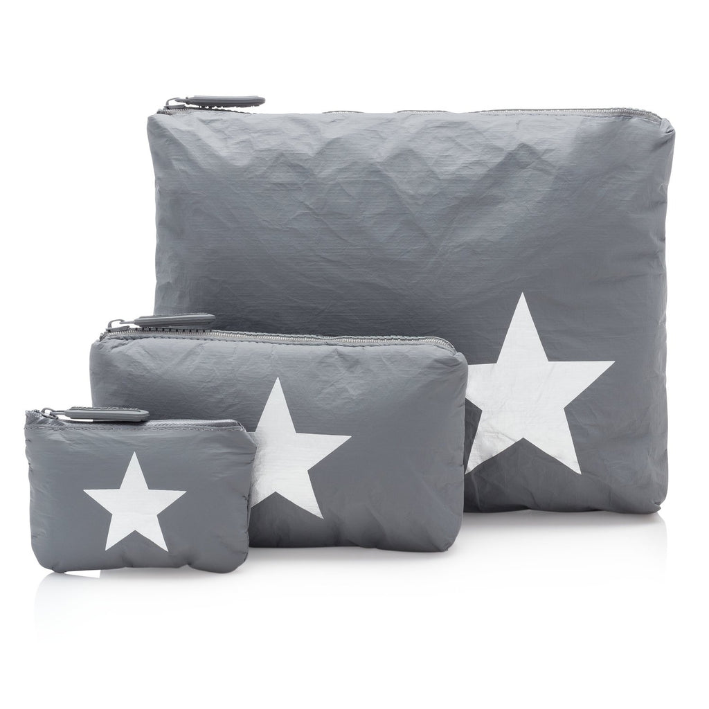 Cool Gray with a Metallic Silver Star Pouches