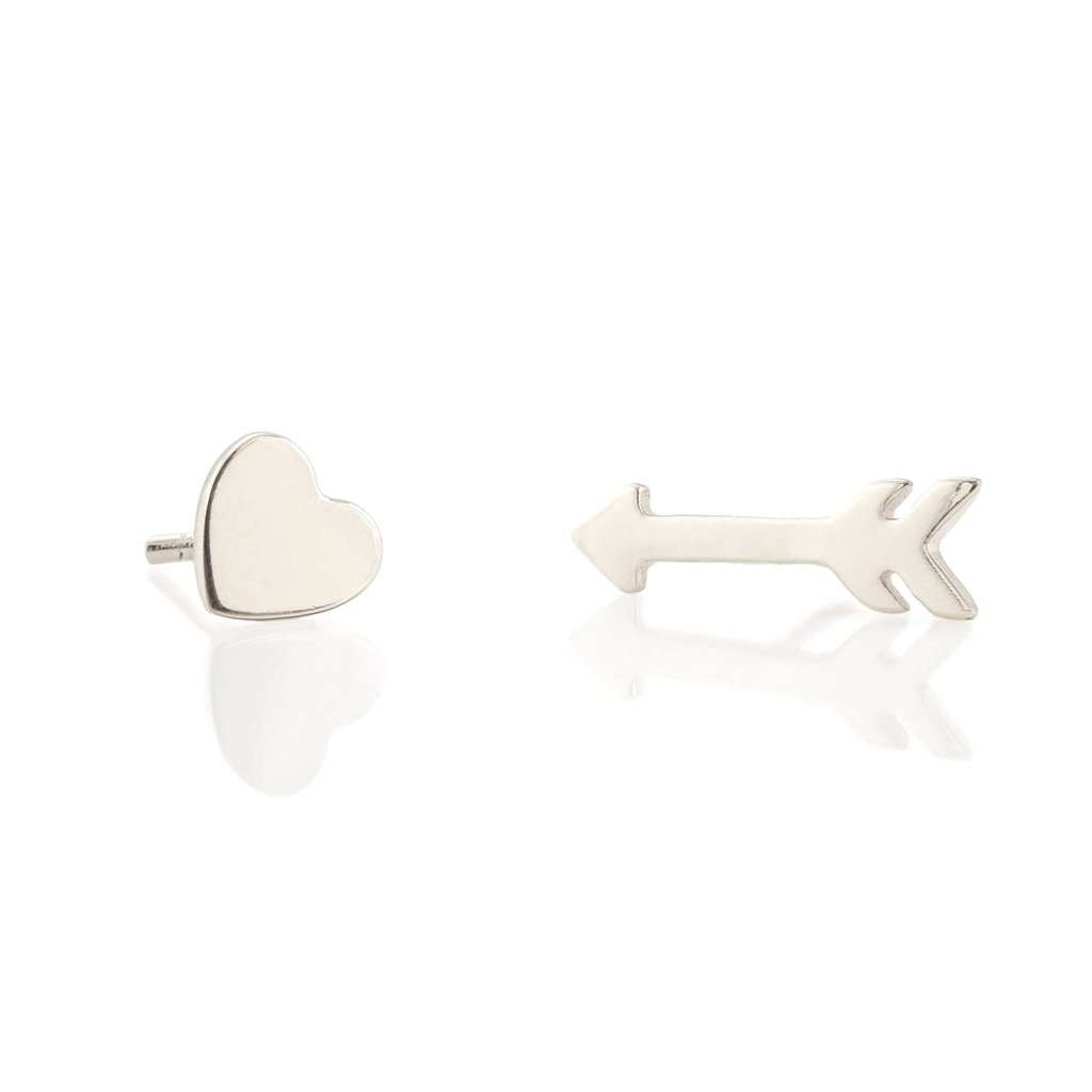 Heart and Arrow Studs Silver