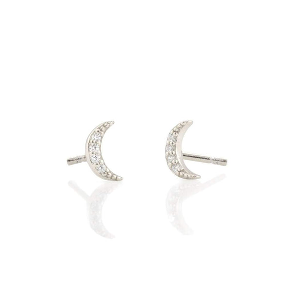 Crescent Moon Pave Stud - Silver