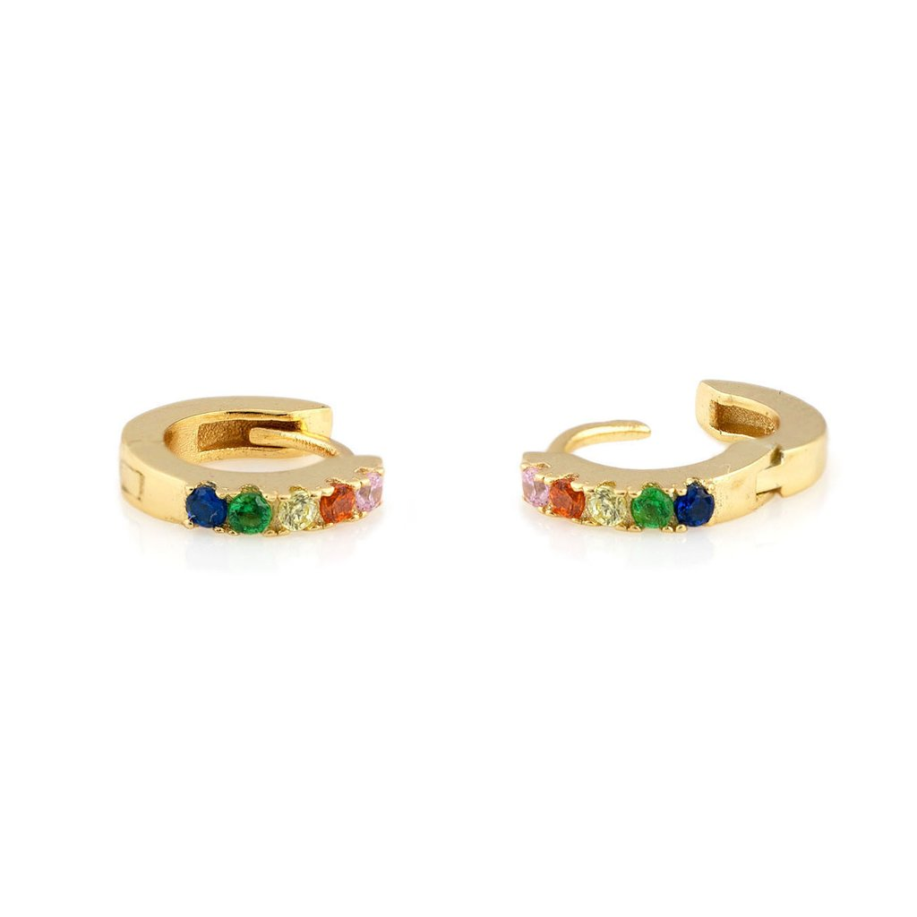 Rainbow Pave Hoop Earrings