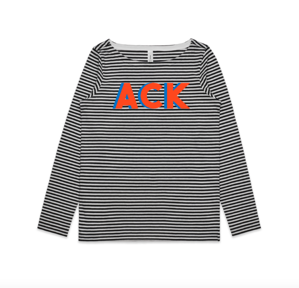 ACK Long Sleeve Stripe Tee Black