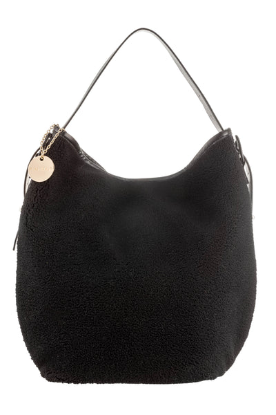 Faux Shearling Bag - Black