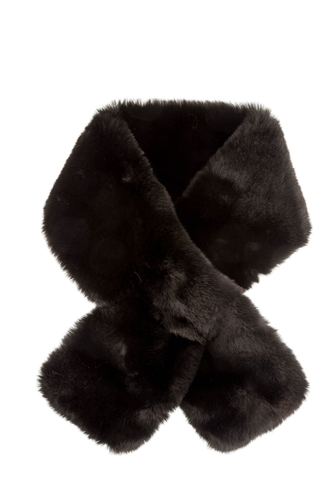 Furry Pull-Thru Scarf - Black