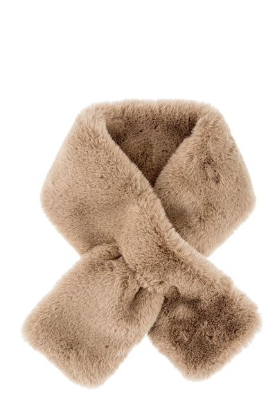 Furry Pull-Thru Scarf - Taupe