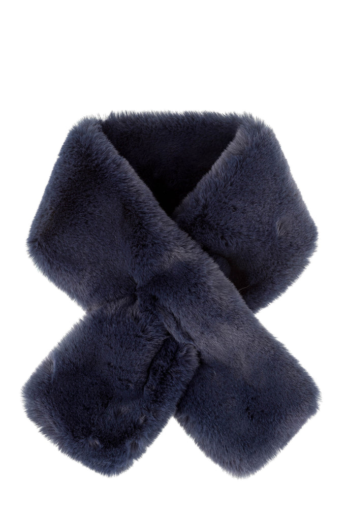 Furry Pull-Thru Scarf - Navy