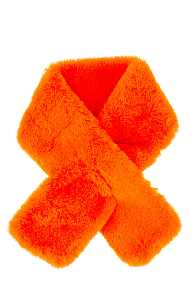 Furry Pull-Thru Scarf - Orange