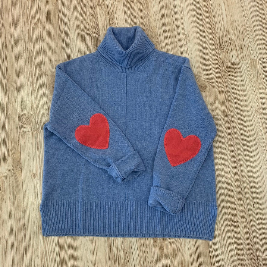 Cashmere Heart Elbow Turtleneck Blue