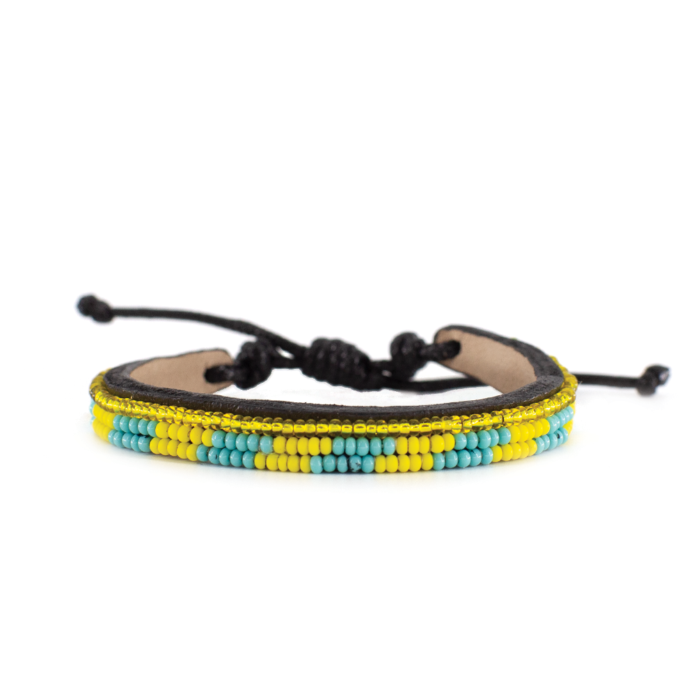 Yellow and Turquoise Skinny Mstari Bracelet