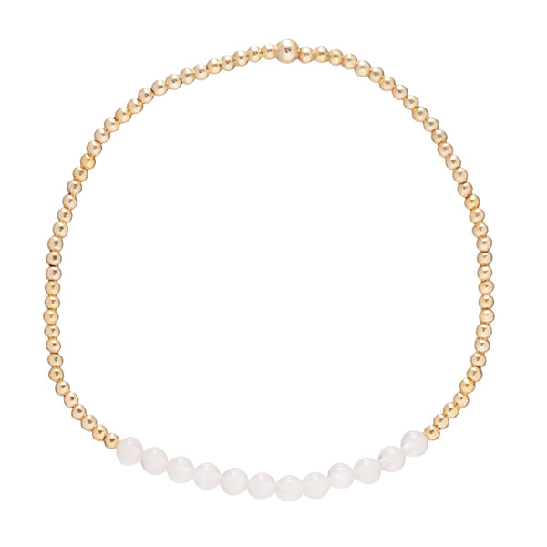 Gold Bliss 2mm Bead Bracelet Rose Quartz