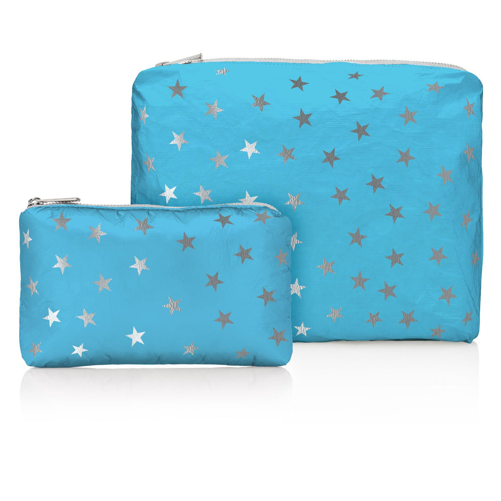 Sky Blue with Myriad Silver Stars Pouches