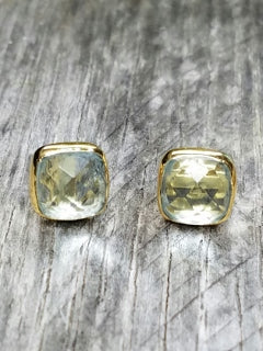 Gold Cushion Blue Topaz Studs Earrings