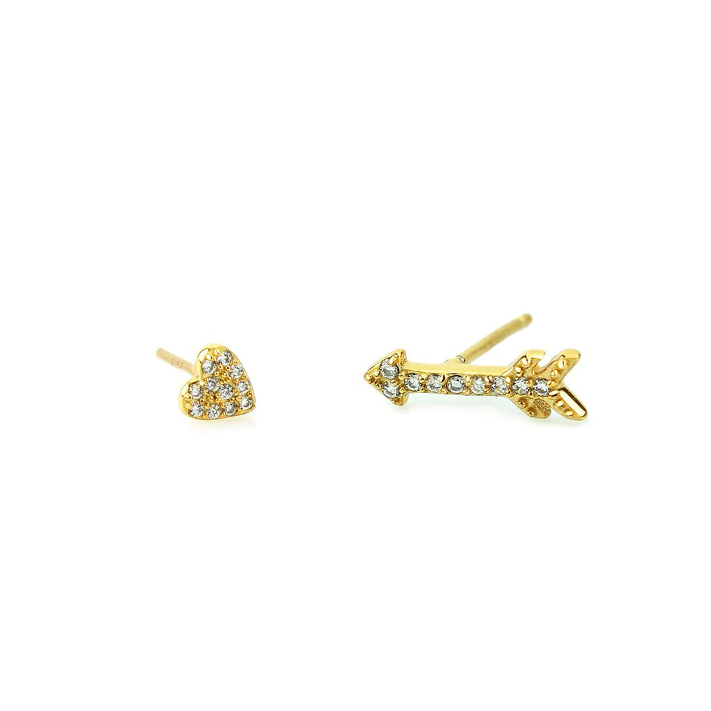 Heart and Arrow Pave Stud - Gold