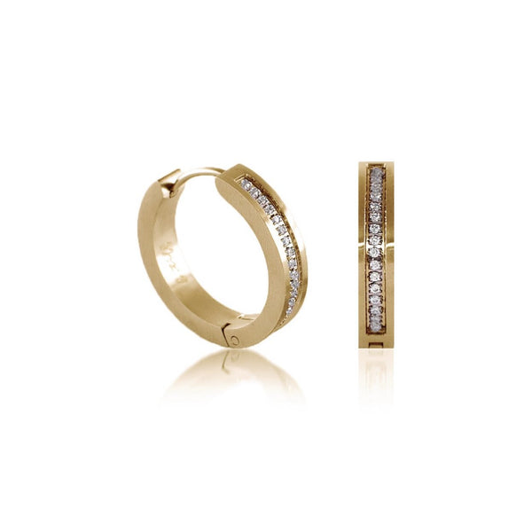 Pave 34-Stone Hoop Earrings