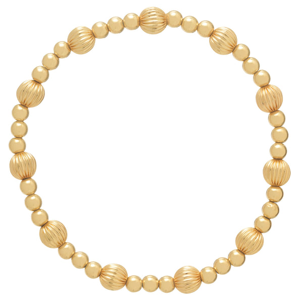Dignity Sincerity Pattern 6mm Bead Bracelet - Gold
