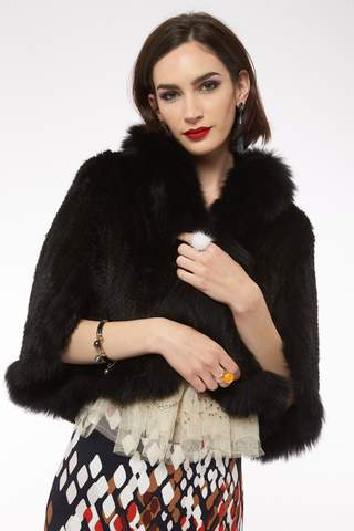 Mink Rabbit Fur Cape - Black