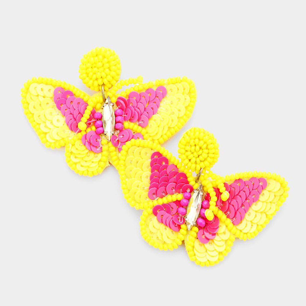 Seed Bead Butterfly Earrings