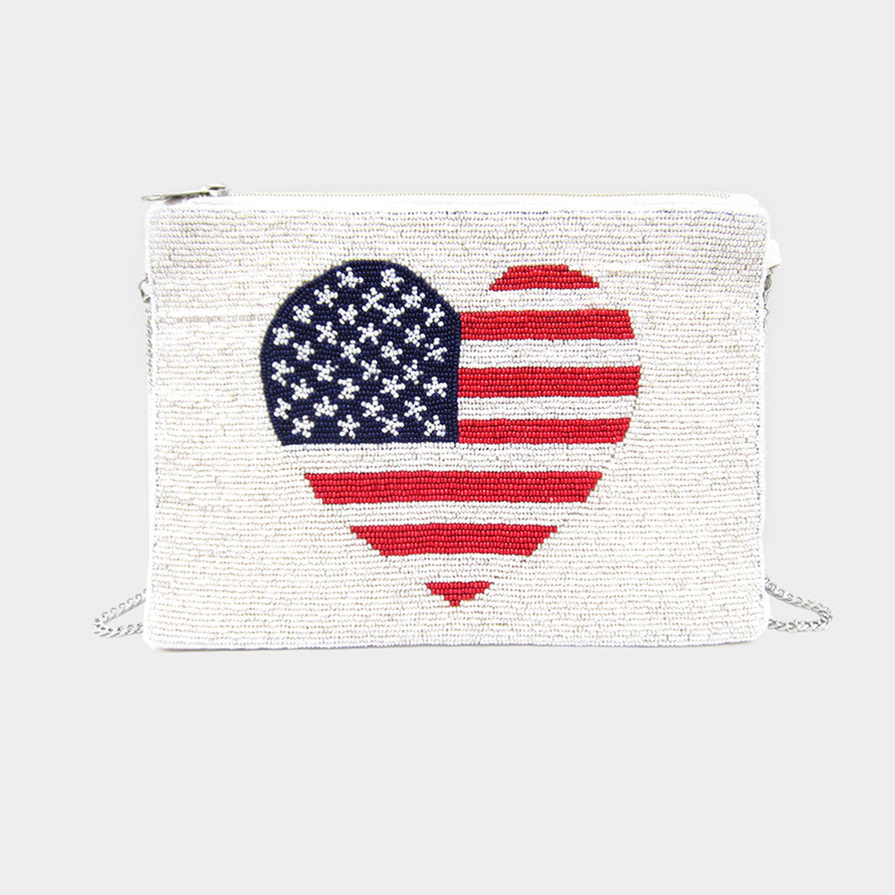 Heart American USA Flag Seed Bead Clutch