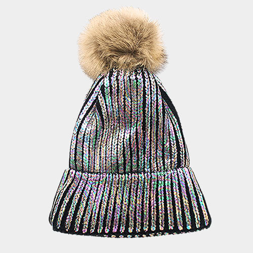 Metallic Fur Pom Pom Black