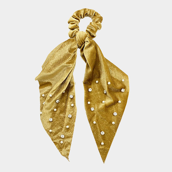 Velvet with Pearl Detail Hair Scarf Mustard