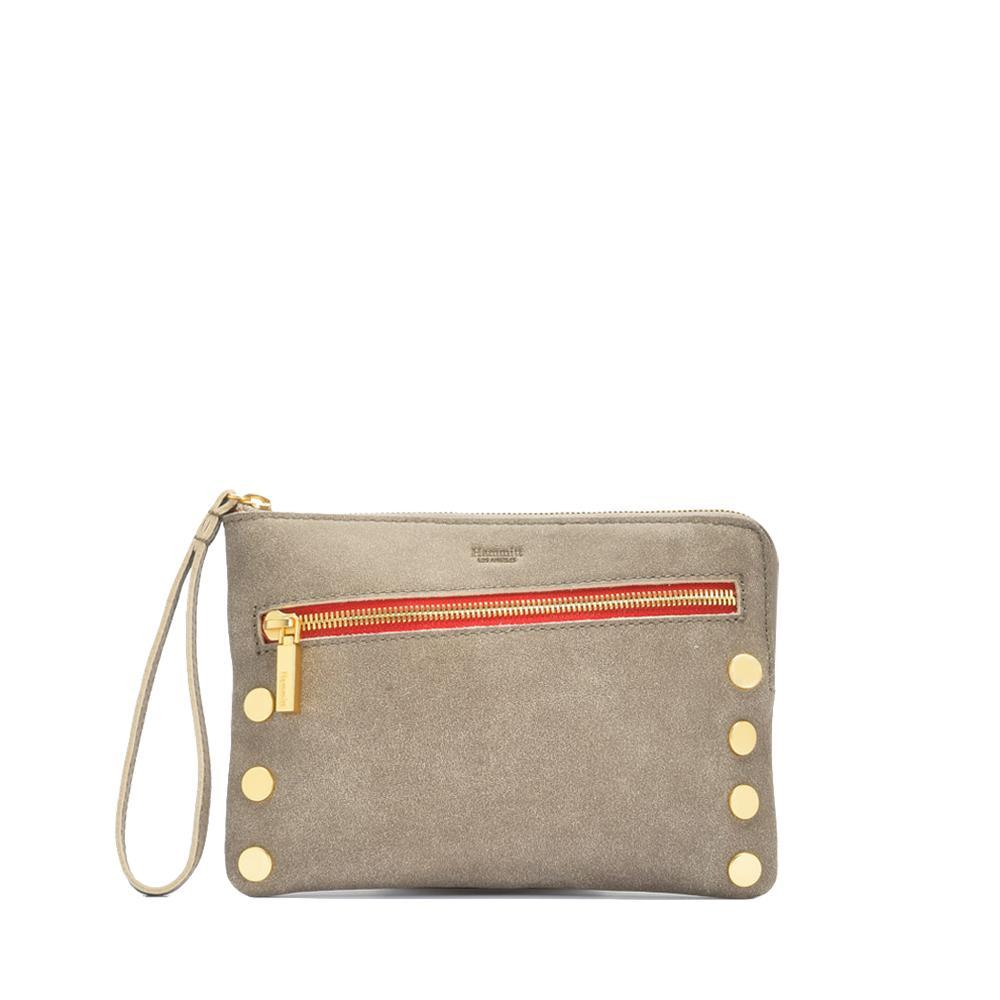 Nash Small Clutch Pewter with Gold and Red Zipper