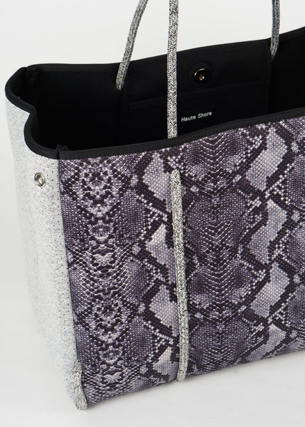 Greyson Neoprene Tote - Gray python/heather marle sides