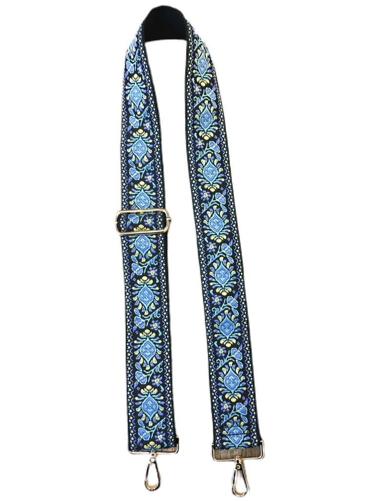 "Embroidered Floral Strap 2"" Adjustable Strap - Blue/Yellow"