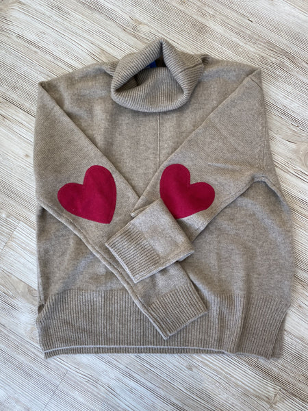 Cashmere Heart Elbow Turtleneck Taupe