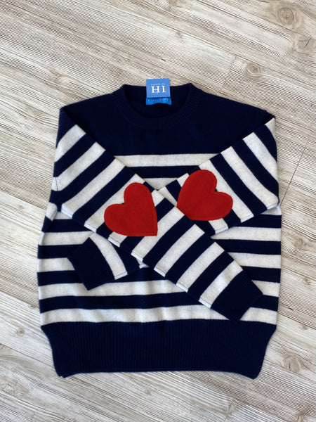 Cashmere Heart Elbow Striped Crewneck Navy/Ivory