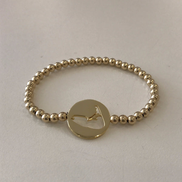 Nantucket Island Cutout Disc Bracelet Gold